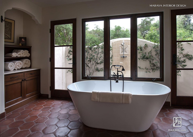 Freestanding tub on waxed terra cotta tiles in Spanish ... on spanish style bathroom, spanish revival bathroom master, mexican tile bathroom designs,