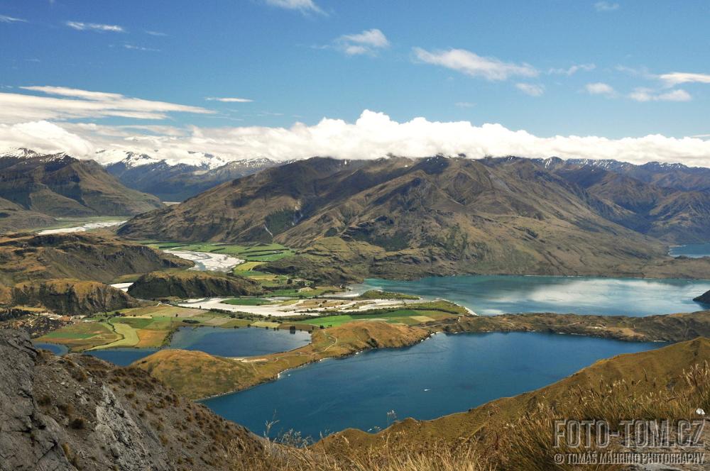 Výhled z hory Mt Roy, Wanaka, Nový Zéland -
