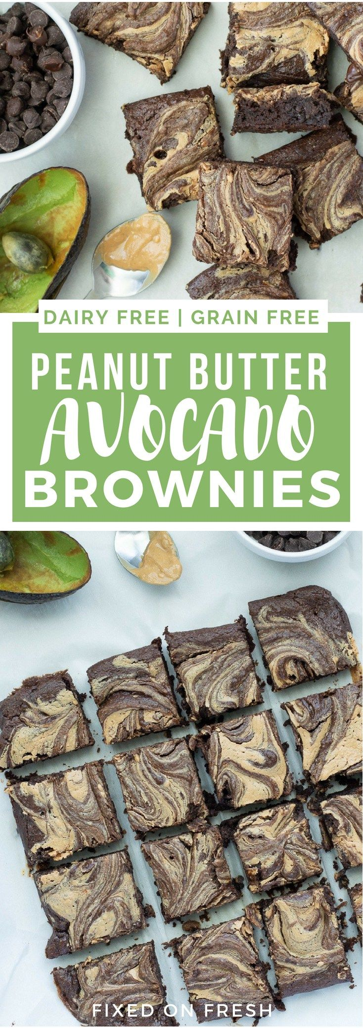 Fudgy Peanut Butter Swirl Avocado Brownies are easy to make and a healthier, low calorie brownie. They have less sugar, use avocado instead of vegetable oil and taste amazing, so kids will love them!