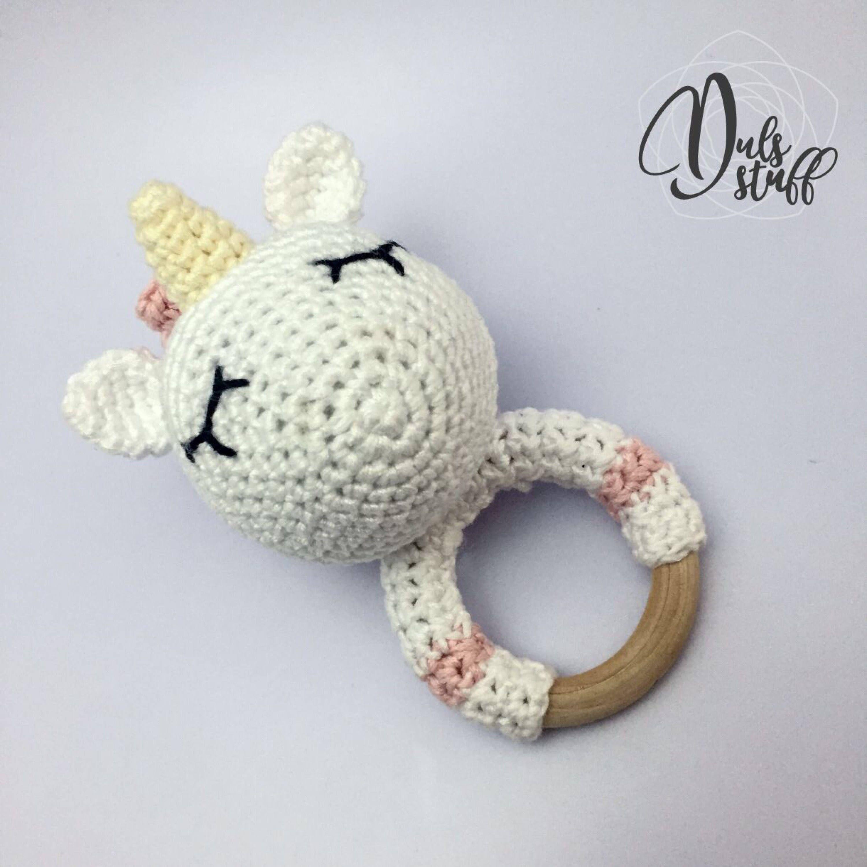 Crochet and wooden unicorn baby rattle and teether, unicorn ...