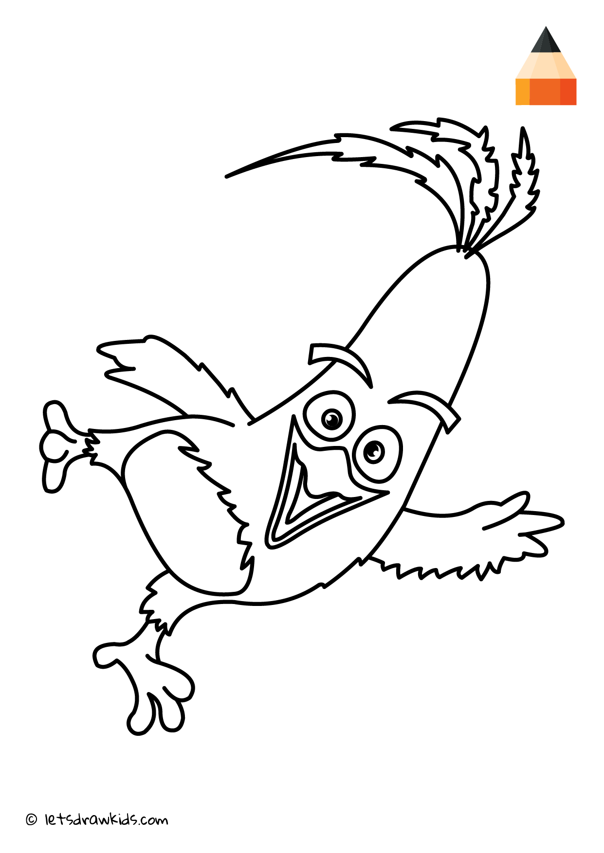 Coloring Page Angry Birds Chuck