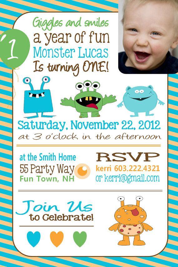 Monster Birthday Invitation First Birthday Monster Party Invitation ...