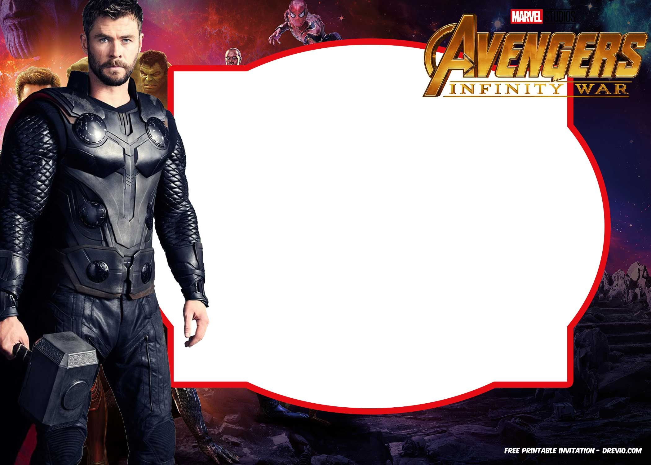 FREE Avengers Infinity Wars Birthday Invitation Templates - ALL ...