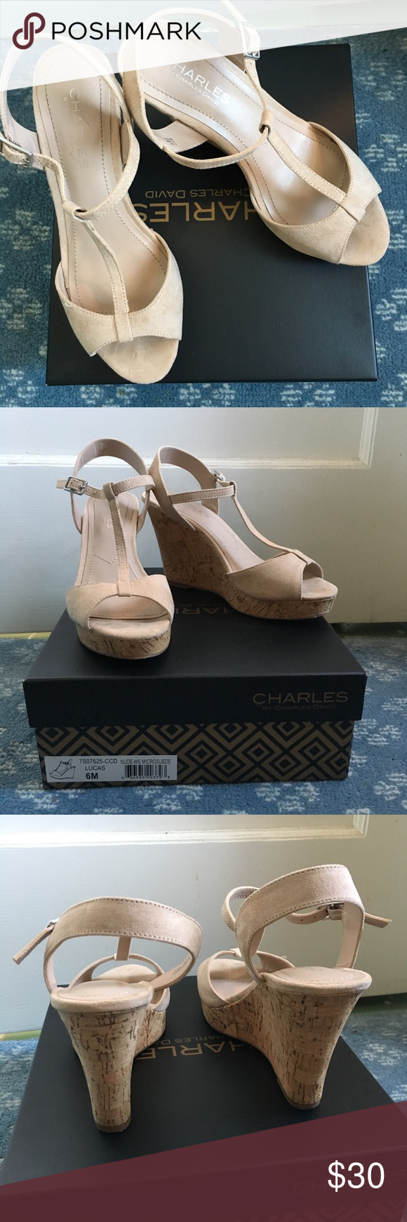 """f82ef254d750 Charles by Charles David wedge heel Lucas sandal Only worn once for a  wedding. They are a nude suede sandal with a 4"""" wedge heel."""