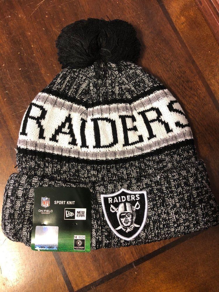 551f4ea8ab3 Oakland Raiders Beanie Cap Hat Nfl Football One Size New Era Cuffed Knit  Field