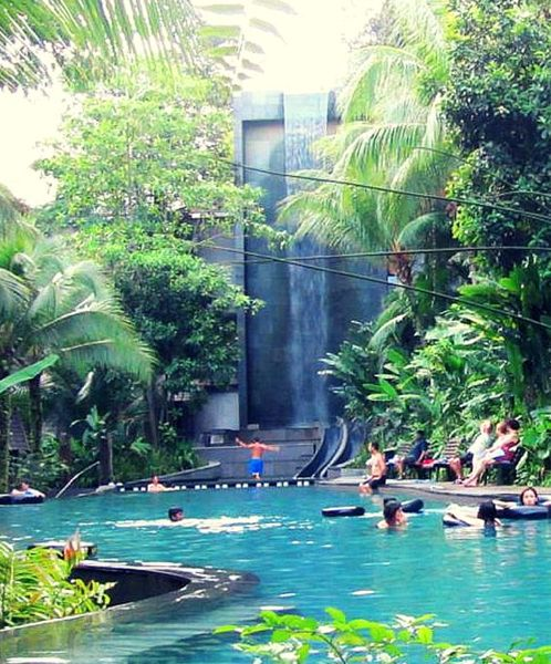 Amazing pool with waterfall at siloso beach resort - Siloso beach resort swimming pool ...