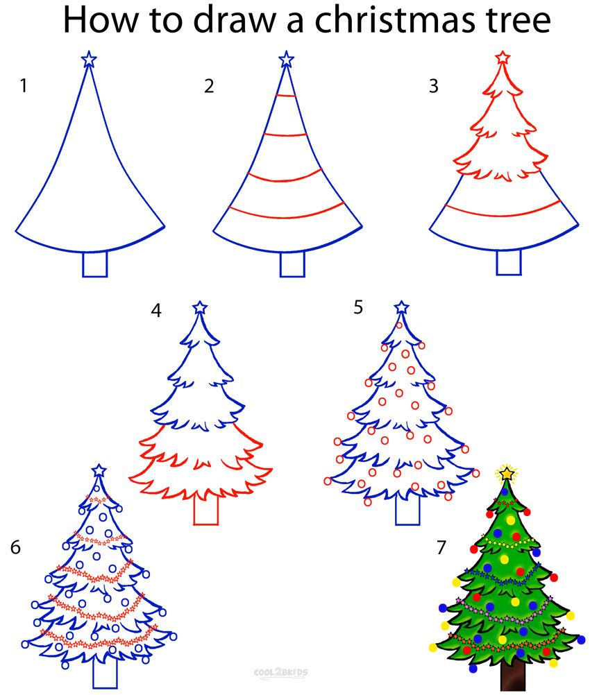 How To Draw A Christmas Tree Step By Step Drawing Tutorial With Pictures Cool2bkids Christmas Tree Drawing Christmas Drawing Christmas Doodles