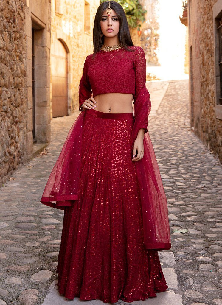 Red Lace And Sequins Embroidered Lehenga Lace Top Wedding Dress Indian Wedding Dress Trendy Wedding Dresses