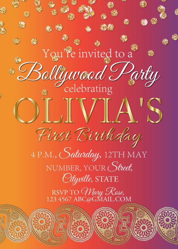 Holi Invitation Bollywood Birthday Party Invite Indian Wedding