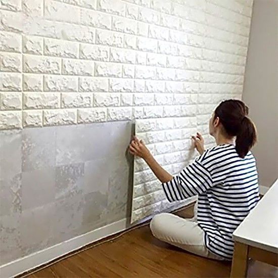 Peel and stick 3d wall panels wall decor white brick - Easy peel off wallpaper ...