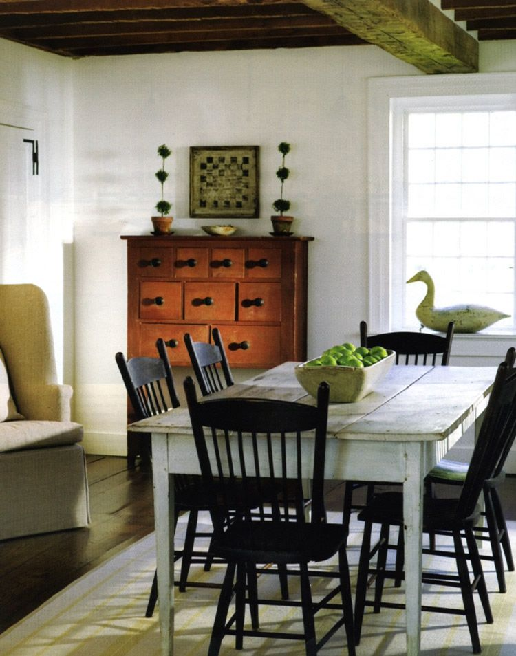 Clean And Simple White Farmhouse Table With Black Farm Style Chairs
