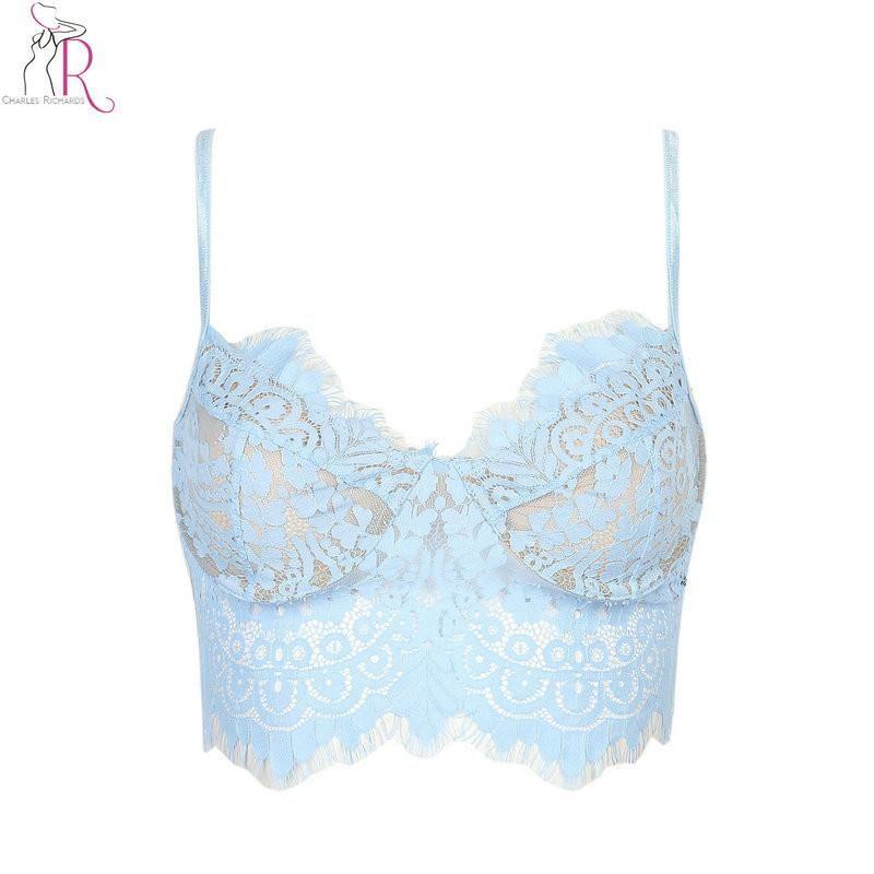 dff5abbac7 5 Colors Lace Floral Crochet Eyelash Spaghetti Strap Slim Bralette Camis Crop  Top Sexy Vest Beachwear Light Pink Blue 2017 Women