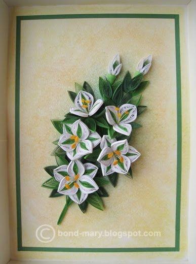 Квиллинг лилии открытка