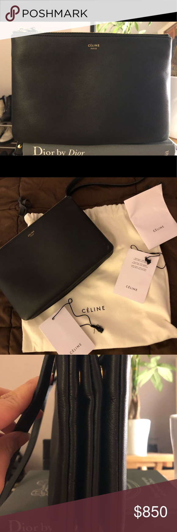 Celine black small trio bag Lamb skin leather Has few scratches on the  corner of the bag Comes with dustbag and tags Beautiful lamb skin leather  See last ... 8450c33150