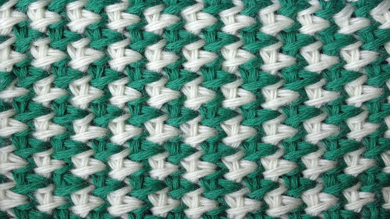 Tunisian crochet pattern Двухцветная путанка Тунисский узор крючком ...