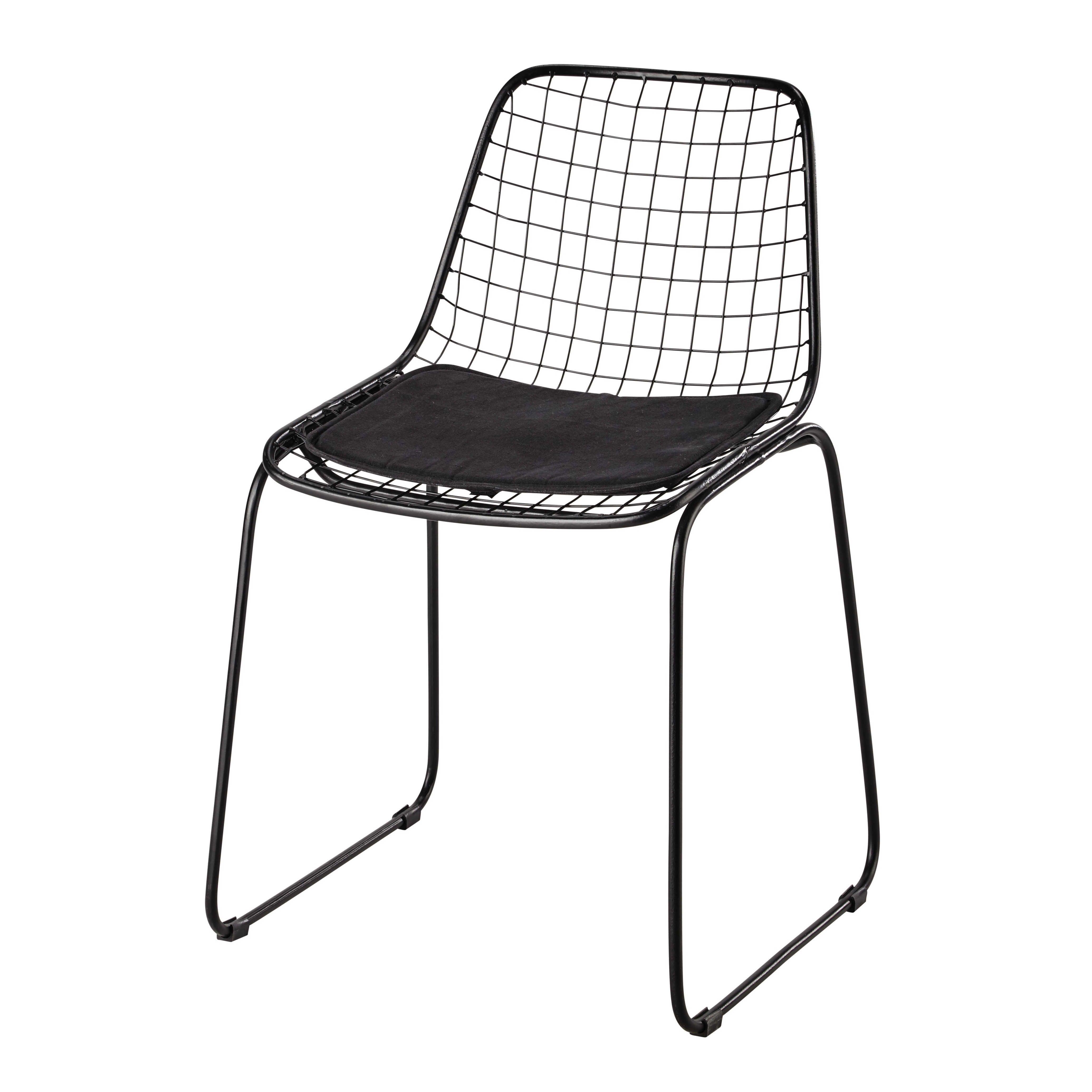 chaise en m tal noire picpus maison du monde 79 deco. Black Bedroom Furniture Sets. Home Design Ideas
