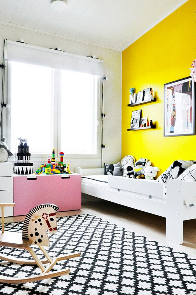 Wonderful Children S Room In Yellow And Pink Yellow Kids Rooms