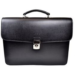 Personalized Royce Leather Kensington Double-Gusset Briefcase