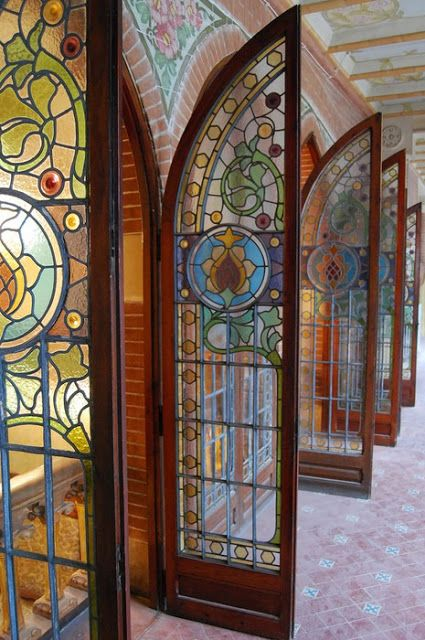 Exquisite Vintage Stained Glass Double Doors Decorated Brick