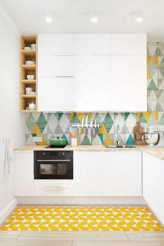 Couleur Pour Cuisine Idées De Peinture Murale Et Façade - Faience cuisine et tapis jaune blanc