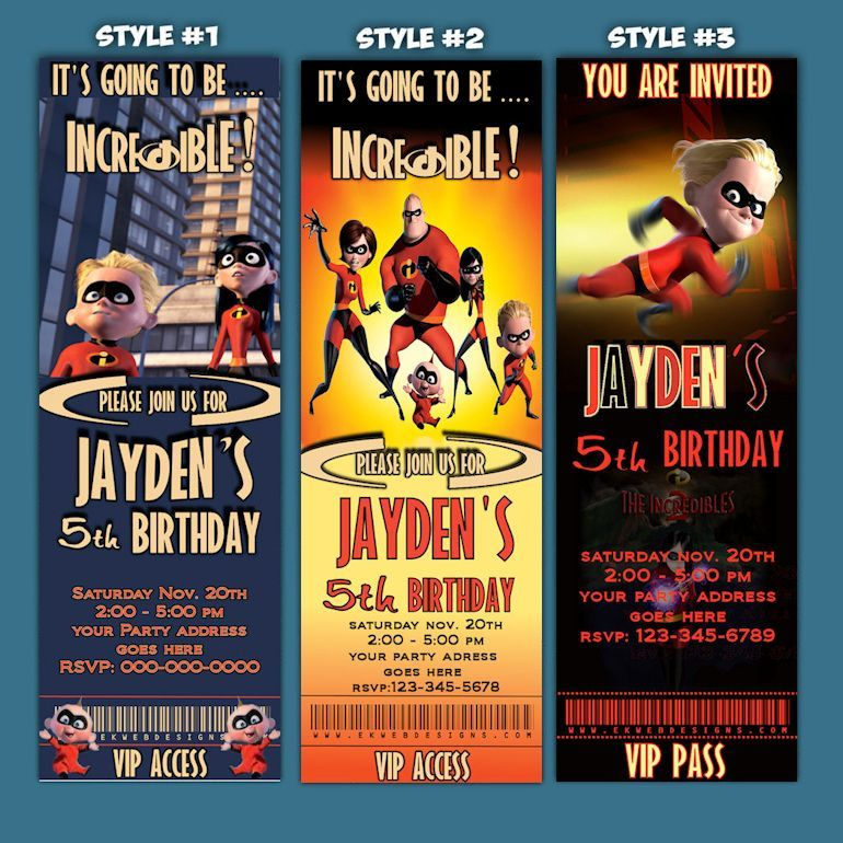 The Incredibles Birthday Invitations The Incredibles Ticket Style – Ticket Style Birthday Invitations