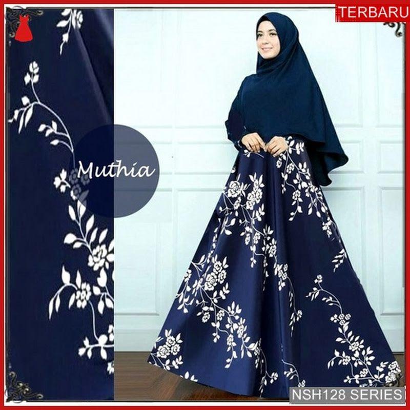 Nsh128g125 Gamis Masa Kini Monalisa Mutahunia Baju Muslim Model