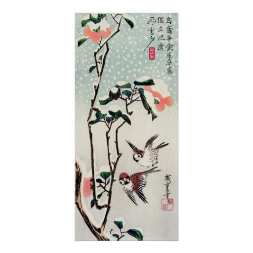 Hiroshige Sparrows and Camellias in the Snow Poster