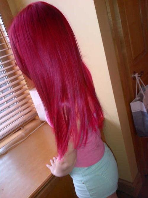 super cute bright red magenta hair
