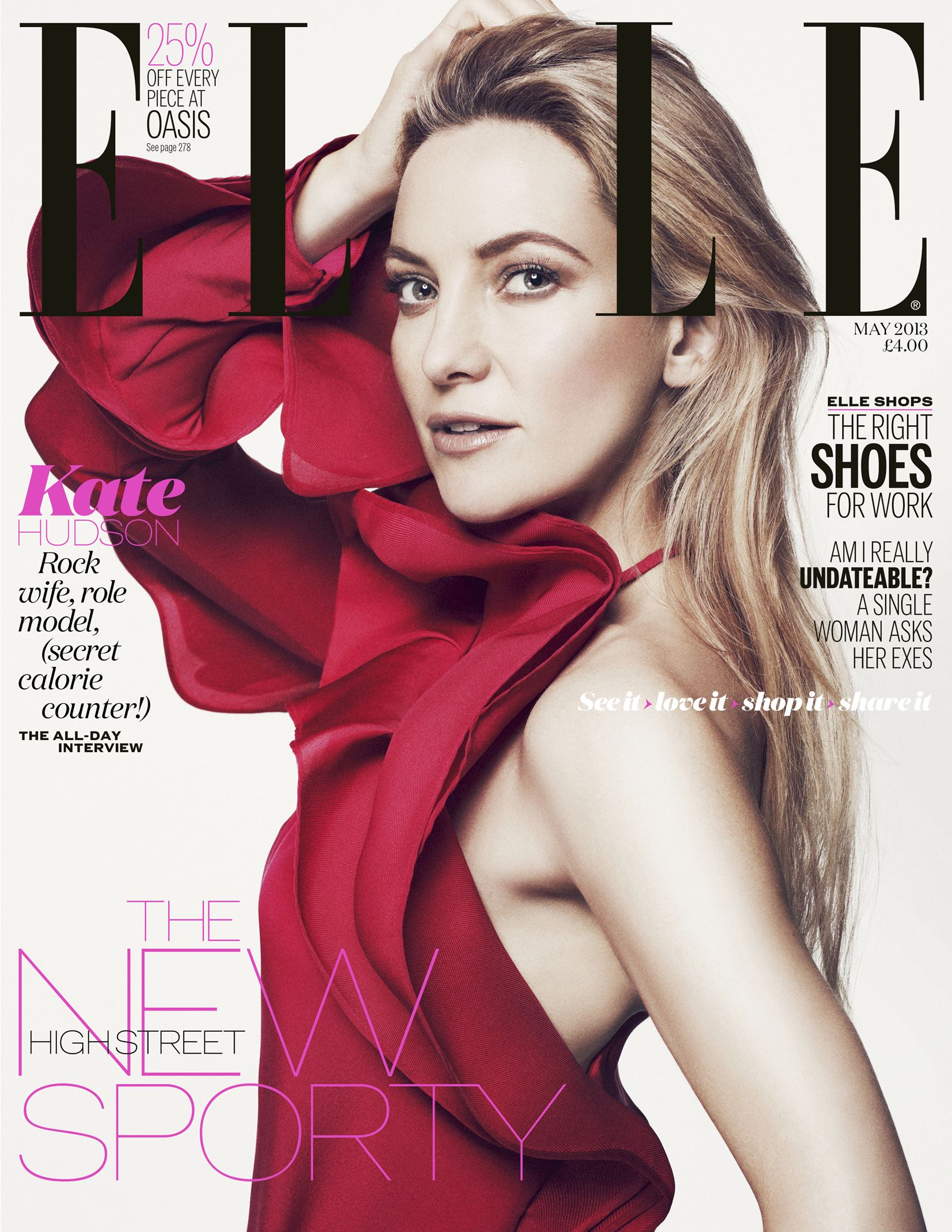 """Kate Hudson covers #Elle Magazine May 2013: Says She Is """"Less a Rock Chick"""" in Her Family Life 