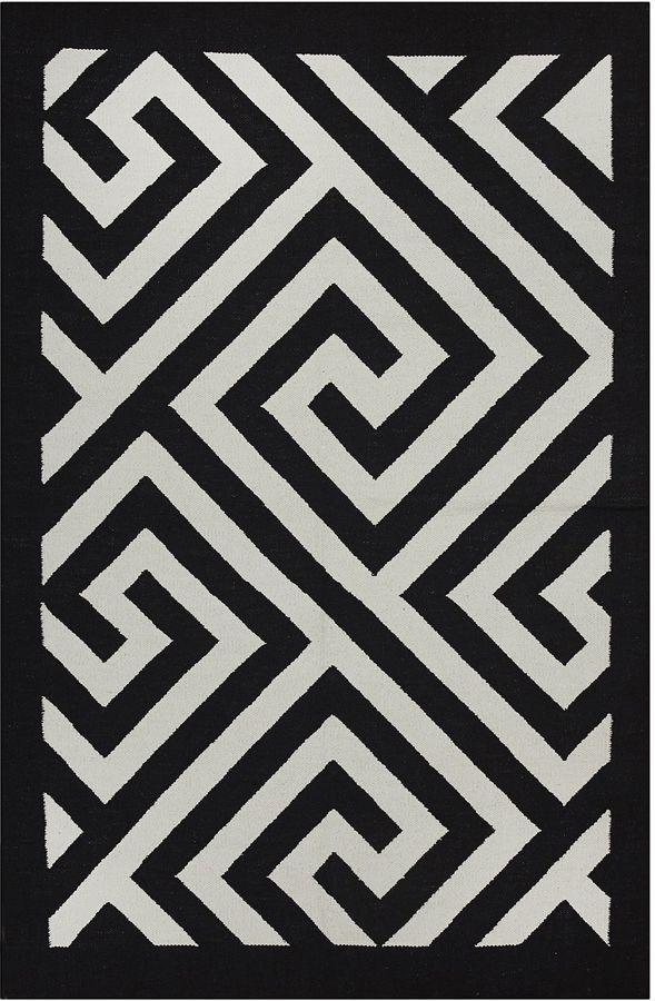 Zanui Fab Rugs Broadway Cotton Rug 90x150cm Teppich Schwarz