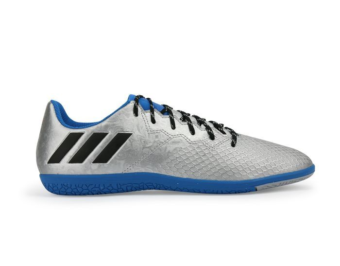 Adidas Kids Messi 16 3 Indoor Soccer Shoes Silver Metalic Core Black With Images Silver Shoes Adidas Kids Indoor Shoe