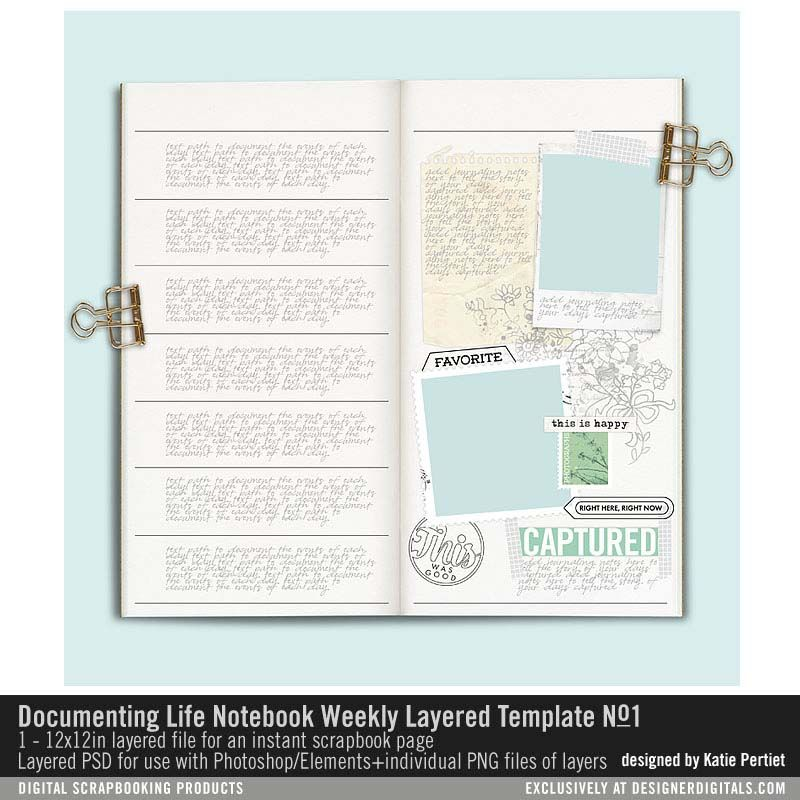 Documenting Life Notebook Weekly Layered Template No 01- Katie - notebook paper template