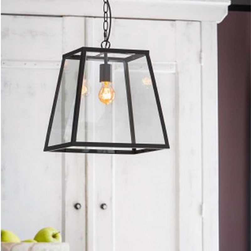 Saunte Hanging Lamp Black Lantern Pendant Lighting Black