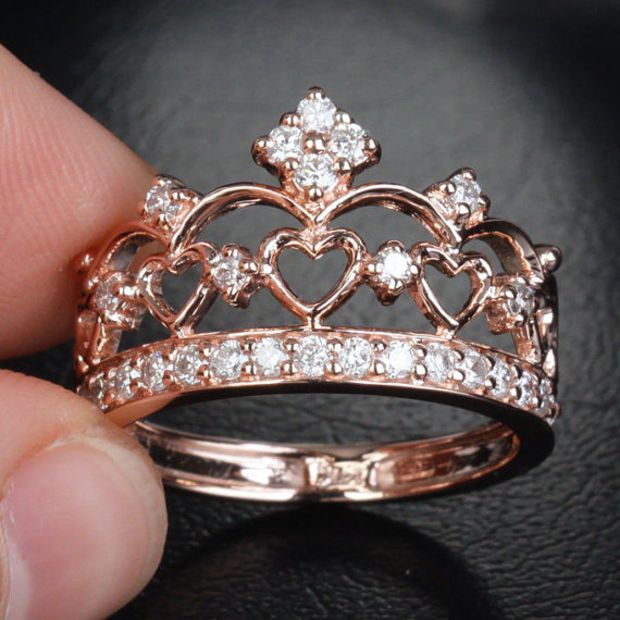 Unique 14k Rose Gold Heart Crown Engagement Ring Diamond Wedding Band Ring Anniversary Ring Other Metal Crown Engagement Ring Diamond Wedding Bands Jewelry