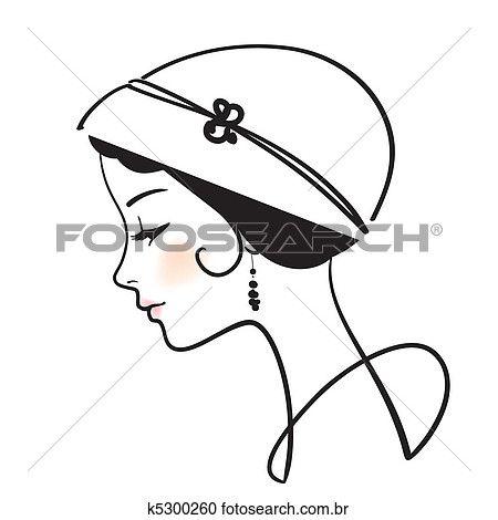 Mulher Bonita Rosto Com Chapeu Vetorial Ilustracao Clipart
