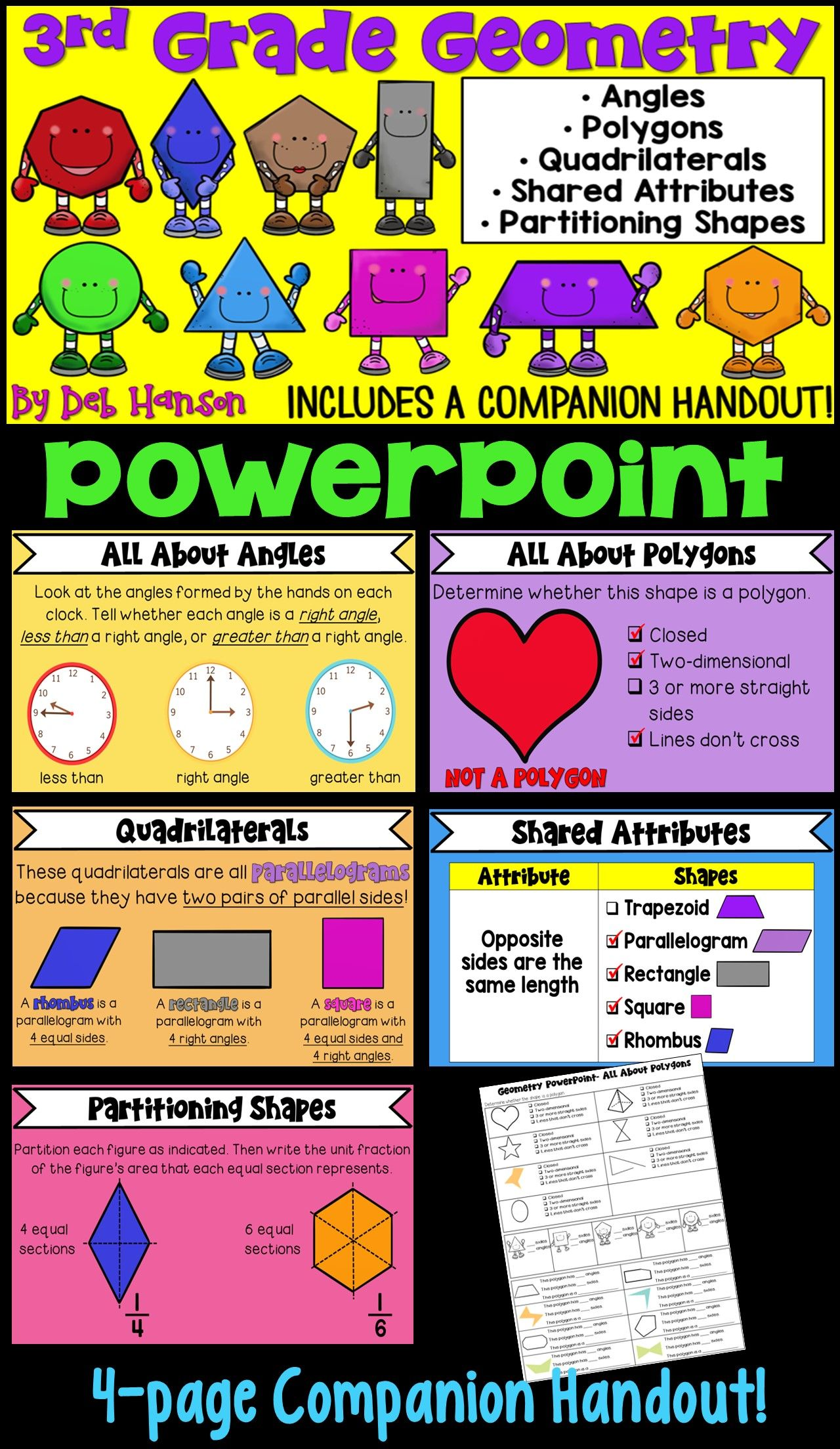 geometry powerpoint for 3rd grade 3rd grade math pinterest