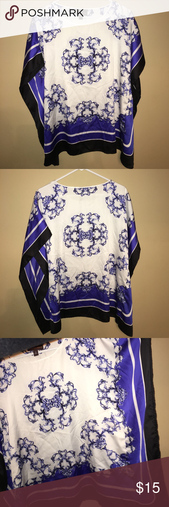 Dana Buchman blouse NEVER WORN! Women's size M. Blue, black and white with loose sleeves. Superrrrr cute! Tops Blouses