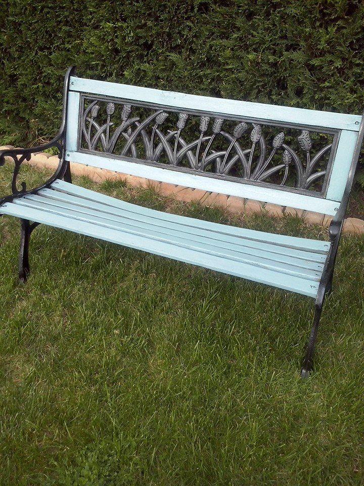 banco de jardin pintado en azul nautico der Mary paint | decoracion ...