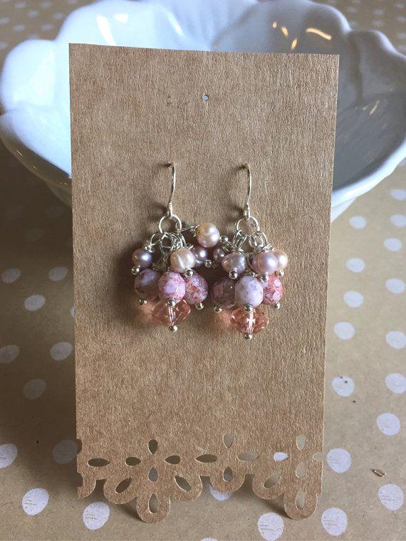 Pink Pearl Cluster Earrings by LaniMakana on Etsy