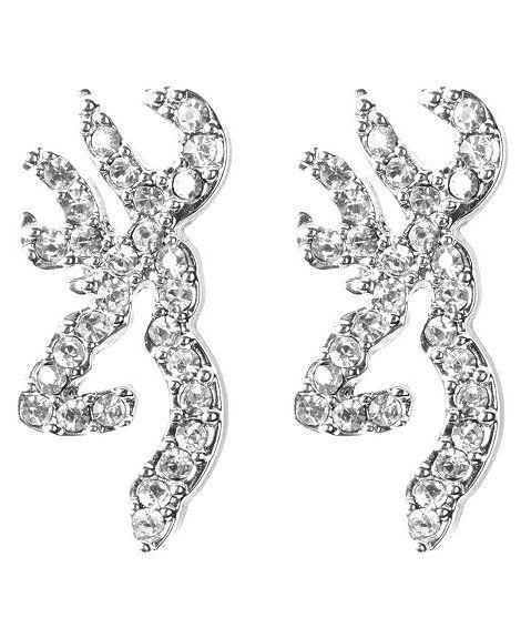 Browning Rhinestone Embellished Buckmark Logo Earrings