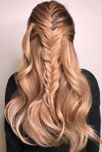 Strawberry Blonde Balayage Half Up #strawberryblonde #blondehair  Strawberry blonde hair is a great solution for babes who want some variety and are tired of their blonde tresses.  #lovehairstyles #hair #hairstyles #haircuts #strawberry blonde Braids