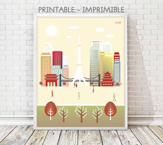 Tokyo print, Japan print, poster Tokyo, wall art print, wall art ...