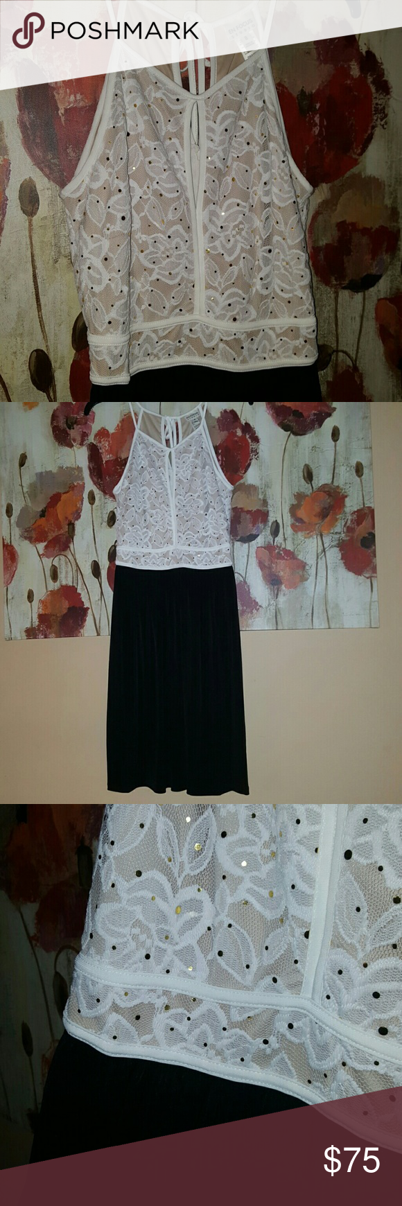 SALE TODAY ONLY! BLACK/BEIGE LACE DRESS Beautiful! Black /beige lace dress with some added sparkles for detail on the lace upper half of dress. Dress has a slight opening in front for exposure and also in the back, making this dress extra nice. Lower slip is soft and silky plain black color. NWOT. En Focus  Dresses Midi