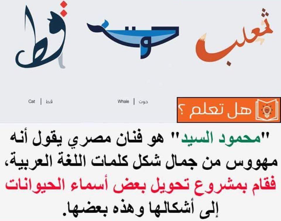 هل تعلم معلومات معلومة خط خطوط فن مصر اللغة العربية اشكال حيوانات Whale Life Arabic Calligraphy