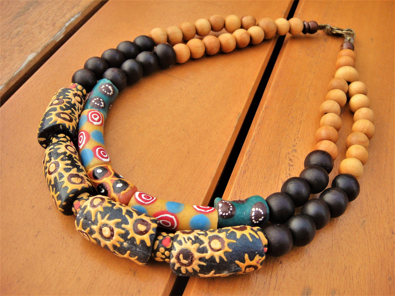"18/"" Czech Glass Bead MULTI-COLORS Cascade Strand Bead Collar Bib NECKLACE"