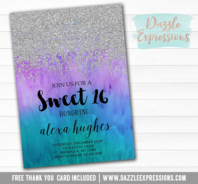 Printable silver glitter and ombre water color birthday invitation printable silver glitter and ombre watercolor birthday invitation sweet 16 purple green and blue 16th birthday free thank you card filmwisefo