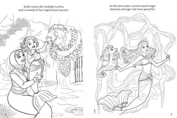 Barbie The Pearl Princess Mermaid Style Colouring Book With Twist