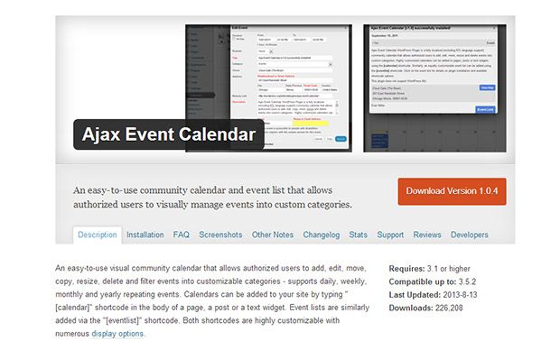 Ajax Event Calendar Wordpress Events Plugin  Automobile