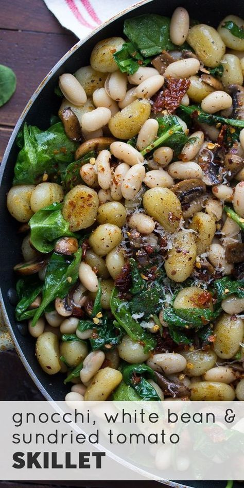 One Pan Gnocchi With Sundried Tomatoes and White Beans #beans #gnocchi #sundried #tomatoes #white #h...