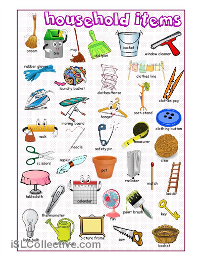 Household Items Picture Dictionary Worksheet Free Esl Printable